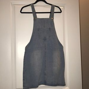 Denim maternity overall dress